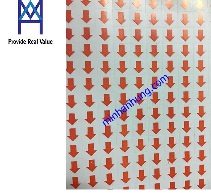 Tem mũi tên dán lỗi màu đỏ đóng gói kt 9x19 cm