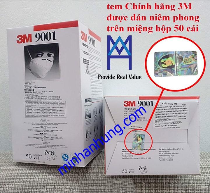 Đóng gói và tem bảo chống hàng giả khẩu trang 3M 9001